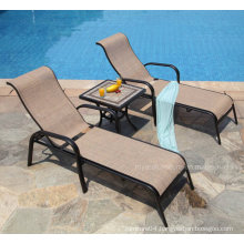 Classical Metal Garden Outdoor Furniture Set Cast Aluminum Mesh Fabric Patio Pool Chaise Lounge